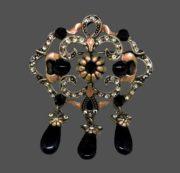 Marcasite and Black Stones brooch pendant. Silver tone jewelry alloy, rhinestones