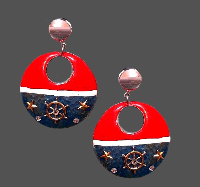 Marine theme enameled dangle earrings. Red, white and blue enamel, rhinestones