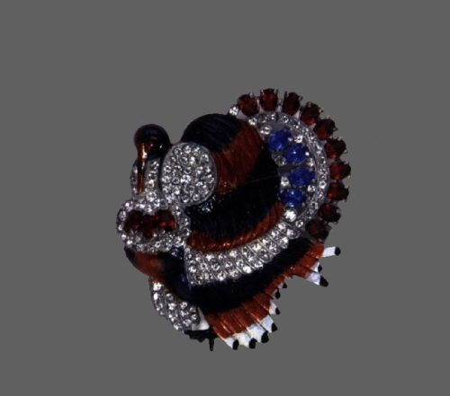 Thanksgiving Turkey brooch. 1941. Metal base, red and black enamel, rhinestones. Red and blue stones. 6.5 cm