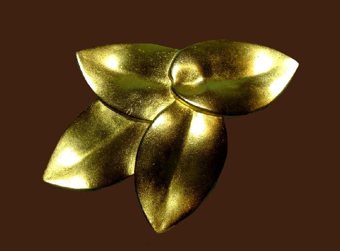 Matte gold four leaf brooch