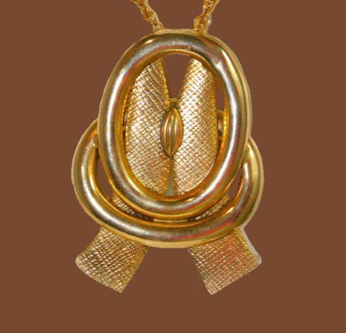 Modernist gold tone pendant