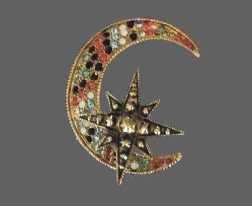 Moon and star pendant. Gold tone, Swarovski crystals