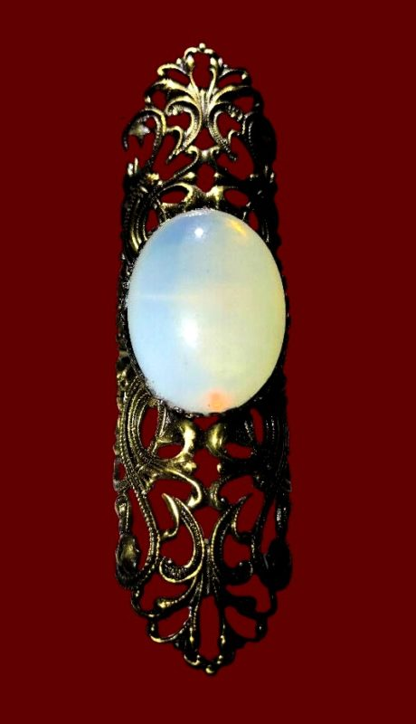 Moonstone silver tone filigree ring. 1960s