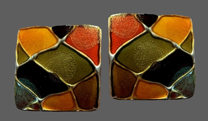 Mosaic stud earrings of square shape. Jewelry alloy, enamel