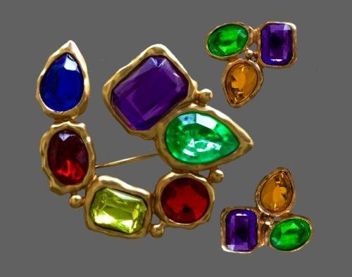 Multicolor lucite brooch