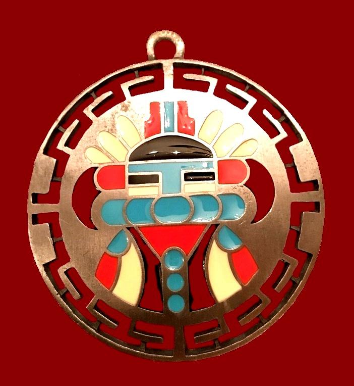 Navaho Style Pendant. Pewter, enamel