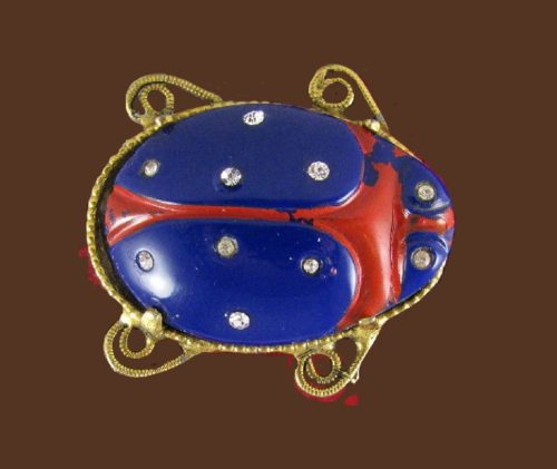 Navy blue glass scarab brooch of gold tone, enameled, rhinestone
