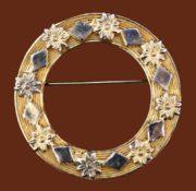 Ornate Circle gold tone, enamel brooch