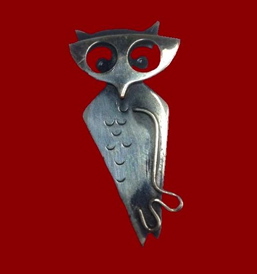 Owl copper brooch pendant