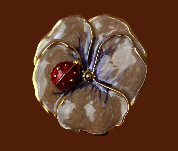 Pansy flower with a ladybug, pink enamel, gold tone jewelry alloy
