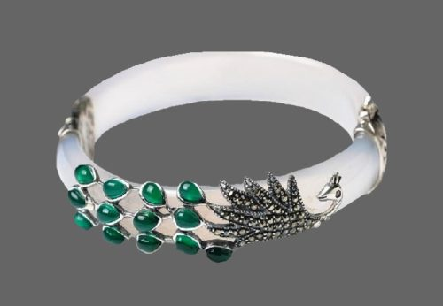 Peacock bracelet Jade and 925 silver