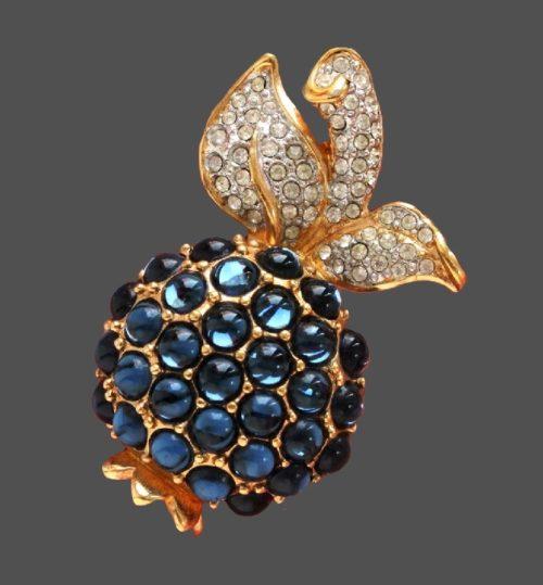Pineapple brooch. Blue enamel, cabochons, Swarovski crystals, jewelery alloy. 5 cm
