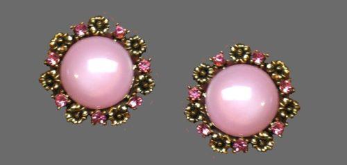 Pink earrings. Jewelry alloy, rhinestones, art glass