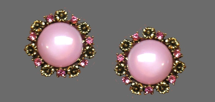 Pink earrings. Jewelry alloy, rhinestones, art glass