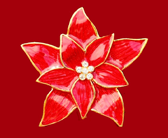Poinsettia flower brooch. Gold tone jewelry alloy, red enamel