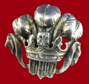 Prince of Wales feathers and crowns sterling silver brooch