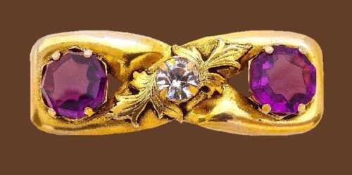 Purple crystal Victorian style brooch