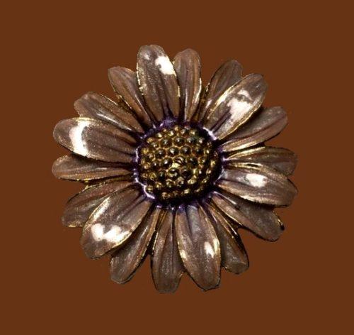 Purple flower enameled brooch