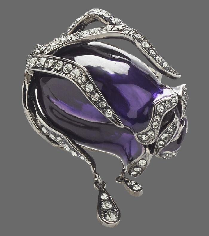 Purple rose bud pendant. Silver tone metal, Swarovski crystals, enamel