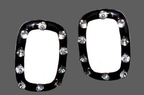 Rectangular shaped earrings. Jewelry alloy, black and white enamel, rhinestones