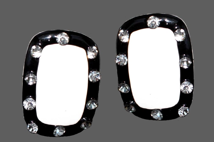 Rectangular shaped earrings. Jewelry alloy, black and white enamel, rhinestones