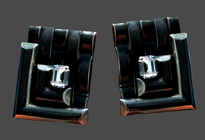 Rectangular weaving vintage clips. Swarovski crystals, jewelery alloy silver tone