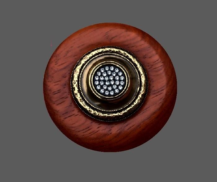 Red brooch. Bronze tone metal, plastic, Swarovski crystals