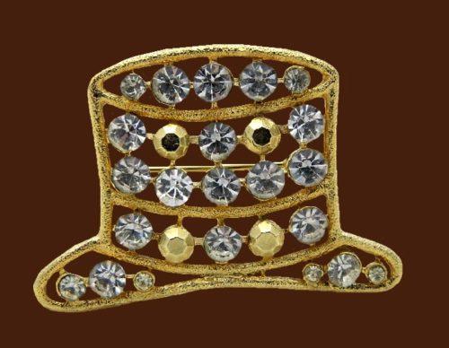 Rhinestone hat gold tone brooch