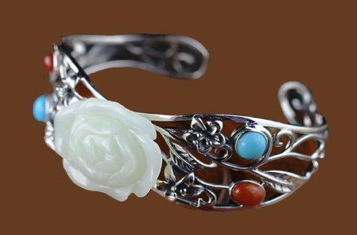 Rose bracelet. Ammonites, Ammolite, Jade, cabochons, 925 silver