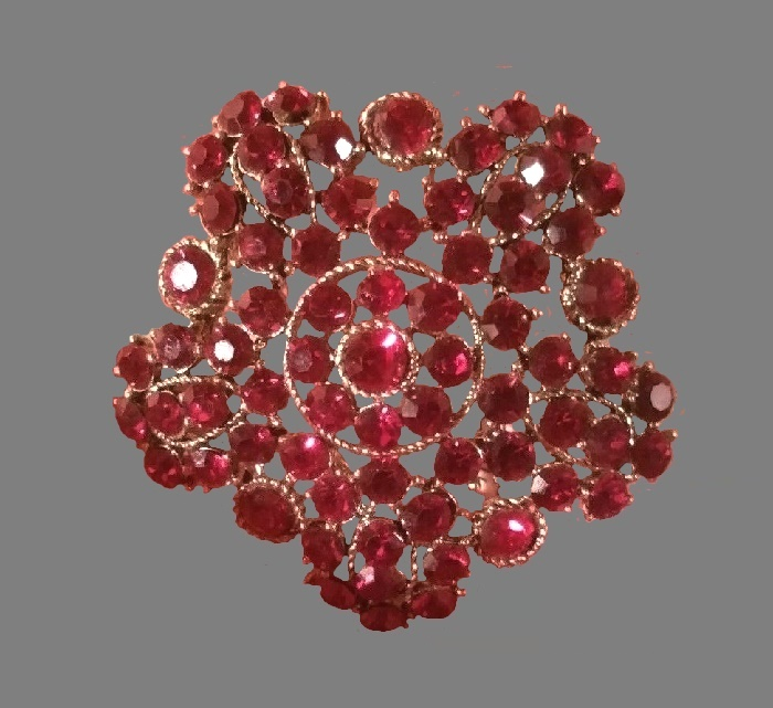 Ruby red rhinestone flower brooch