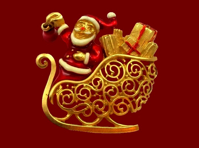 Santa Sleigh enameled brooch of gold tone