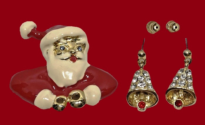 Santa brooch and earrings. Jewelry alloy, rhinestones, enamel