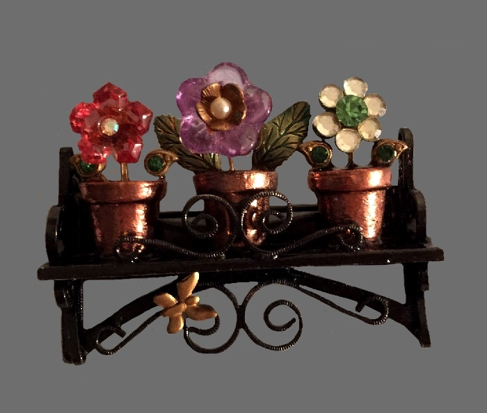 Shelf with flower pots vintage brooch. Gold brass tone metal, glass, enamel, rhinestones