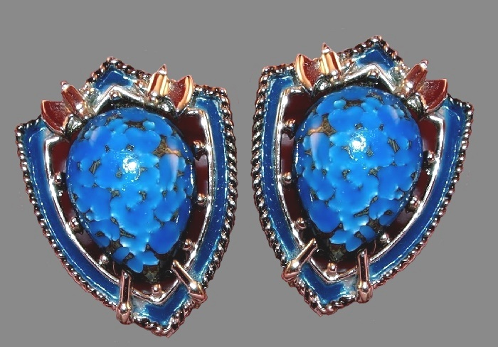 Shield blue enamel clips. Silver tone jewelry alloy, art glass