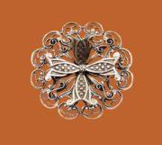 Silver filigree floral design brooch