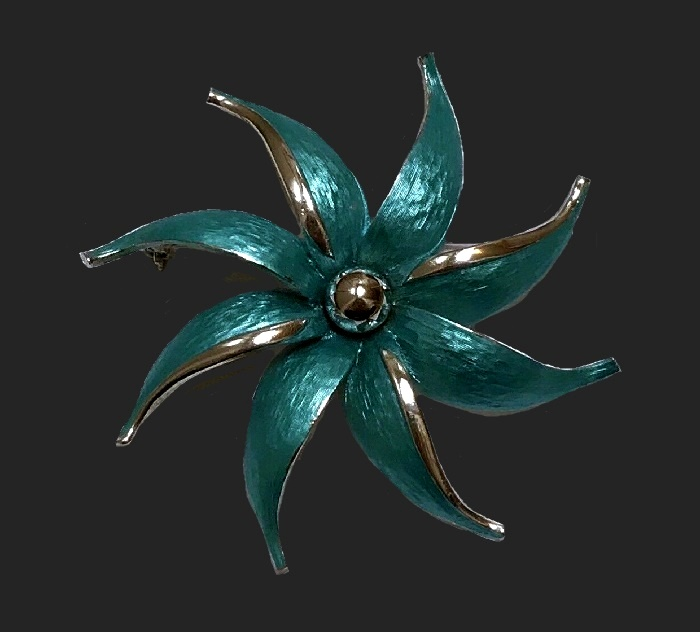 Silver tone flower enameled brooch