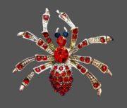 Spider brooch. Silver tone, rhinestones