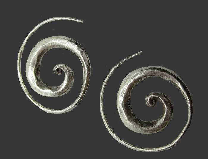 Spiral earrings, ethnic pure silver jewelry