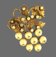 Spring '96 collection grape brooch. Gold tone textured alloy, rhinestones, faux pearls