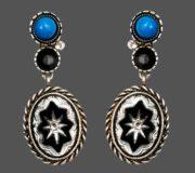 Star dangle earrings, blackened silver tone metal, art glass