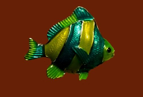 Striped fish brooch, green hues enamel, jewelry alloy