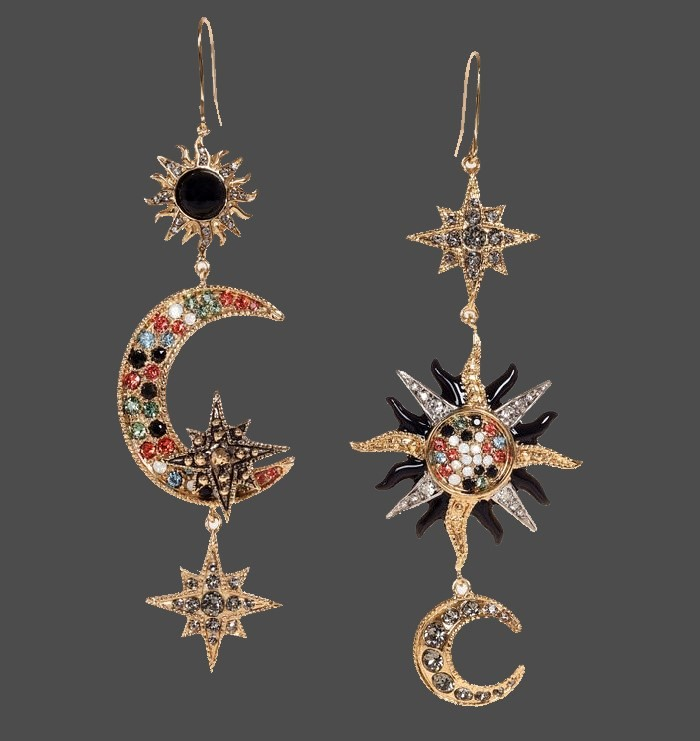 Sun, Moon and stars a pair of earrings. Silver and gold tone metal, decorated with crystals and cabochons, enamel