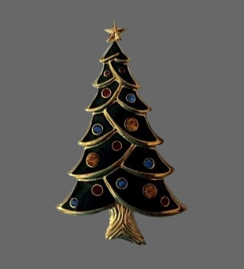 Enameled Christmas tree vintage brooch