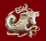 Taurus zodiac sign sterling silver pin brooch