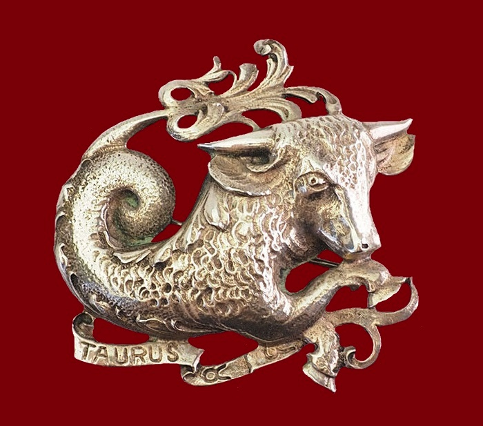 Taurus zodiac sign sterling silver pin brooch
