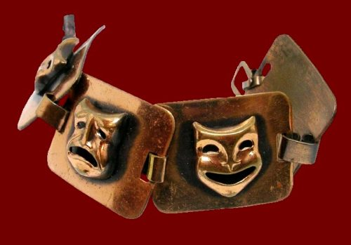 Theatrical masks comedy and tragedy bracelet