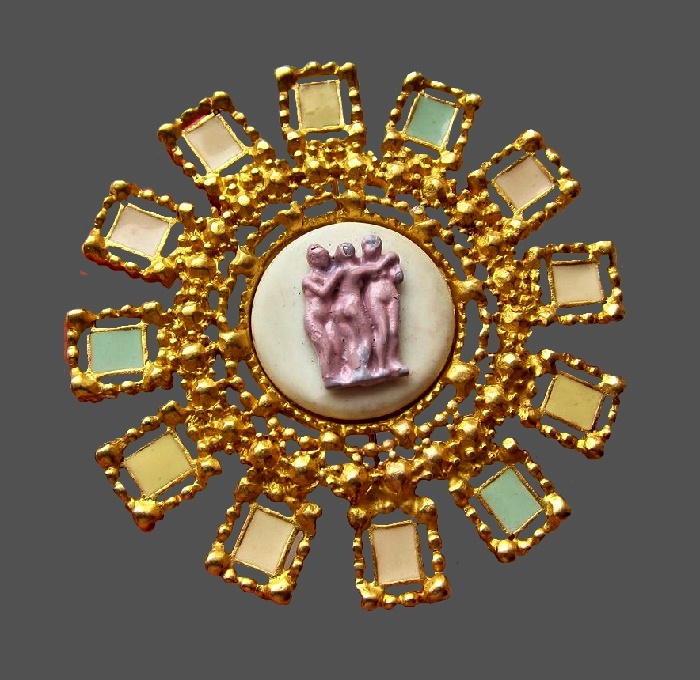 Three Graces Brooch 1980s. Jewelry alloy, gilding, enamel
