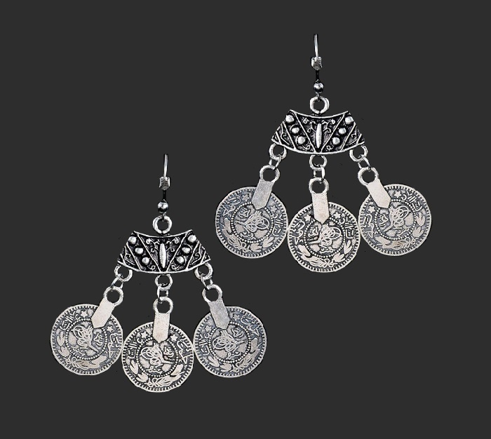 Three coin earrings