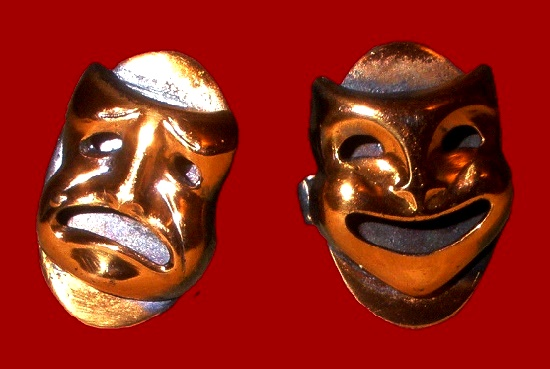 Tragedy and Comedy theatrical mask cufflinks made of copper. KIM craftsmen vintage costume jewelry