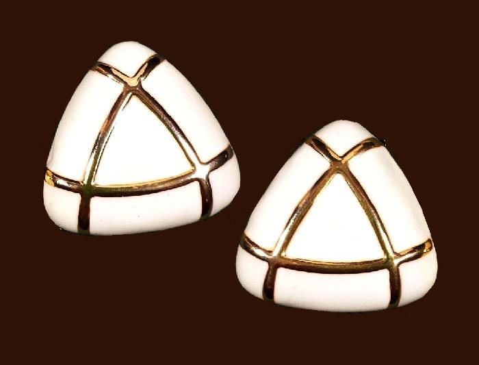 Triangle shaped enameled earrings